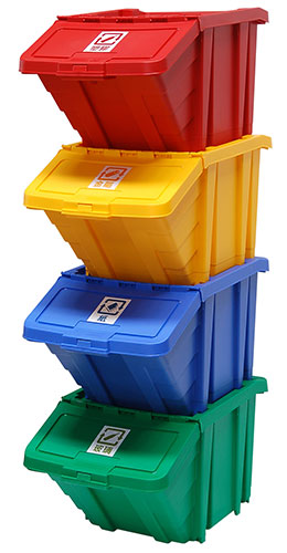 SHUTER's HB-4068 hanging bin with lid is ideal for use as a recycling bin.