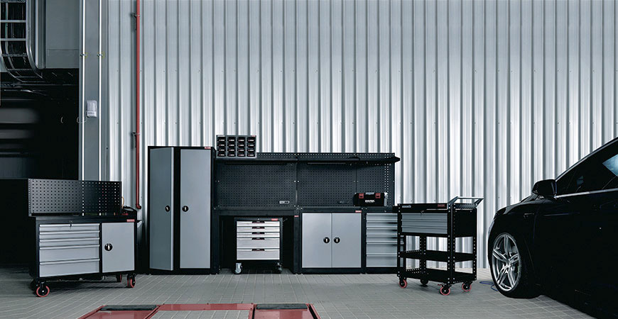 SHUTER WS workstations are an all-in-one tool storage solution.